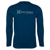 Performance Navy Longsleeve Shirt-Alamo Hospice - Tagline
