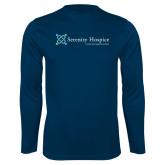 Performance Navy Longsleeve Shirt-Serenity Hospice - Tagline