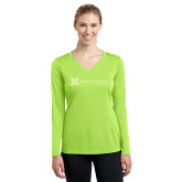 Sport Tek Ladies Long Sleeve V Neck Tee-Serenity Hospice