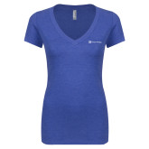 Next Level Ladies Vintage Royal Tri Blend V Neck Tee-Hospice Partners