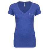 Next Level Ladies Vintage Royal Tri Blend V Neck Tee-Alamo Hospice