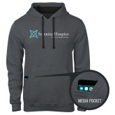 Contemporary Sofspun Charcoal Heather Hoodie-Serenity Hospice - Tagline