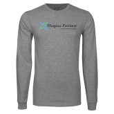 Grey Long Sleeve T Shirt-Hospice Partners - Tagline