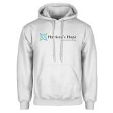 White Fleece Hoodie-Harrisons Hope - Tagline