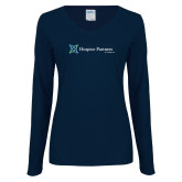 Ladies Navy Long Sleeve V Neck Tee-Hospice Partners of America