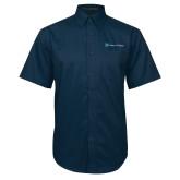 Navy Twill Button Down Short Sleeve-Hospice of Virgina