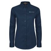 Ladies Navy Twill Button Down Long Sleeve-Alamo Hospice