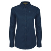 Ladies Navy Twill Button Down Long Sleeve-Hospice of Virgina