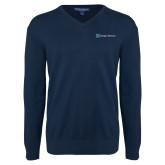 Classic Mens V Neck Navy Sweater-Hospice Partners