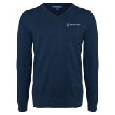 Classic Mens V Neck Navy Sweater-Harrisons Hope