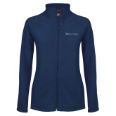 Ladies Fleece Full Zip Navy Jacket-Hospice of Virgina
