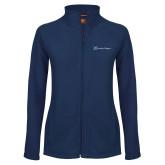 Ladies Fleece Full Zip Navy Jacket-Serenity Hospice