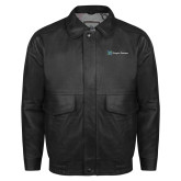 Black Leather Bomber Jacket-Hospice Partners
