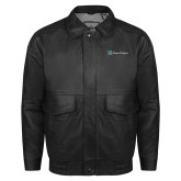 Black Leather Bomber Jacket-Alamo Hospice