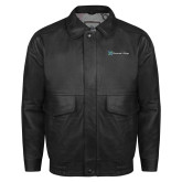Black Leather Bomber Jacket-Harrisons Hope