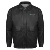 Black Leather Bomber Jacket-Hospice of Virgina