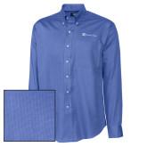 Cutter & Buck French Blue Nailshead Long Sleeve Shirt-Harrisons Hope