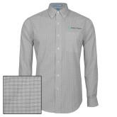 Mens Charcoal Plaid Pattern Long Sleeve Shirt-Serenity Hospice