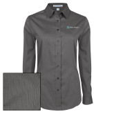 Ladies Grey Tonal Pattern Long Sleeve Shirt-Alamo Hospice