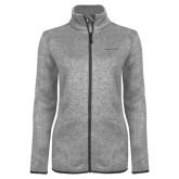 Grey Heather Ladies Fleece Jacket-Hospice of Virgina