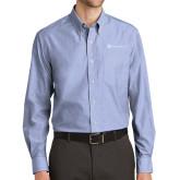 Mens Light Blue Crosshatch Poplin Long Sleeve Shirt-Hospice Partners