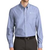 Mens Light Blue Crosshatch Poplin Long Sleeve Shirt-Alamo Hospice