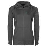 Ladies Sport Wick Stretch Full Zip Charcoal Jacket-Hospice of Virgina