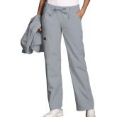 Ladies Grey Low Rise Drawstring Cargo Scrub Pant-
