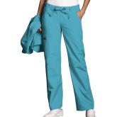 Ladies Turquoise Low Rise Drawstring Cargo Scrub Pant-