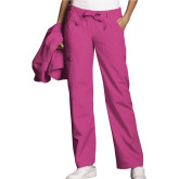 Ladies Shocking Pink Low Rise Drawstring Cargo Scrub Pant-