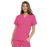 Ladies Shocking Pink Two Pocket V Neck Scrub-Serenity Hospice