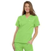 Ladies Lime Green Two Pocket V Neck Scrub-Harrisons Hope