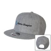 Heather Grey Wool Blend Flat Bill Snapback Hat-Alamo Hospice