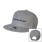 Heather Grey Wool Blend Flat Bill Snapback Hat-Serenity Hospice