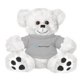 Plush Big Paw 8 1/2 inch White Bear w/Grey Shirt-Alamo Hospice