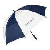 62 Inch Navy/White Vented Umbrella-Hospice Partners - Tagline