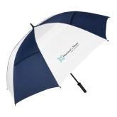 62 Inch Navy/White Vented Umbrella-Harrisons Hope - Tagline