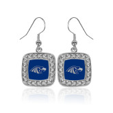 Crystal Studded Square Pendant Silver Dangle Earrings-Hawk Head