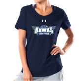 Ladies Under Armour Navy Charged Cotton Tee-Primary Athletics Mark