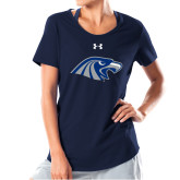 Ladies Under Armour Navy Charged Cotton Tee-Hawk Head