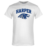 White T Shirt-Arched Harper Hawk Head