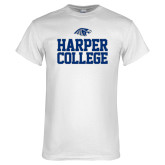White T Shirt-Harper College Stacked
