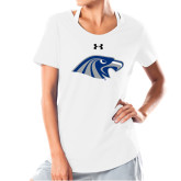 Ladies Under Armour White Charged Cotton Tee-Hawk Head