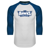White/Royal Raglan Baseball T Shirt-Primary Athletics Mark