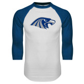 White/Royal Raglan Baseball T Shirt-Hawk Head