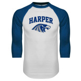 White/Royal Raglan Baseball T Shirt-Arched Harper Hawk Head