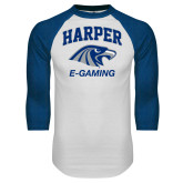 White/Royal Raglan Baseball T Shirt-Gaming