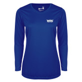 Ladies Syntrel Performance Royal Longsleeve Shirt-Primary Athletics Mark