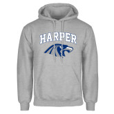 Grey Fleece Hoodie-Arched Harper Hawk Head