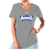 Ladies Under Armour Grey Charged Cotton Tee-Primary Athletics Mark